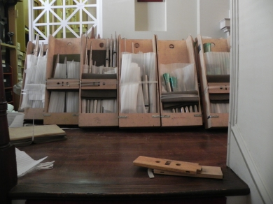 Each box contains the pipes for a particular stop on the organ
