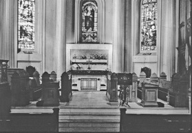 1950 after stained glass windows, marble altar rail, altar and flooring and the Last Supper mosaic were added