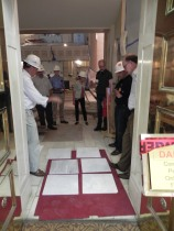 Checking samples of the new white marble