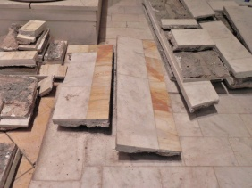 The gold marble is being recoverd