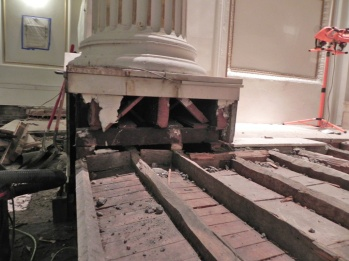 Removing the steps up to the pulpit shows the supports