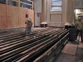 How high is the chancel floor from the chapel floor?