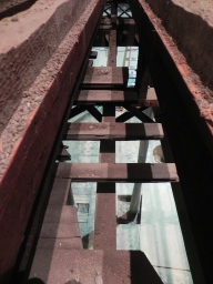 Looking down into the chapel between the two layers of joists.