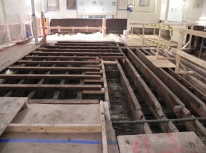 Flooring now removed from all areas of nave