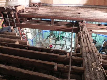 Looking down into the chapel. The multipart beam down the center supported the ends of the joists.