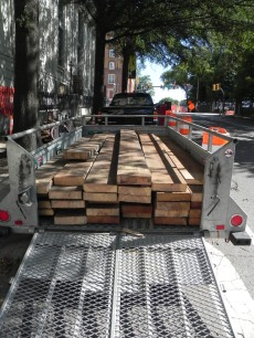 Joists loaded for transport to a new use
