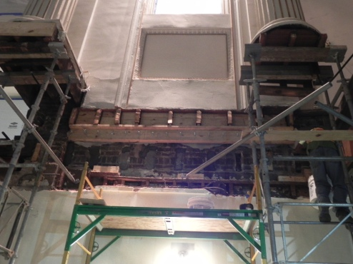 Plaster walls supported after joists removed