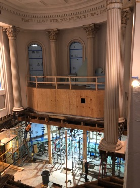 View of the current state of the chancel and chapel with joists removed and supports in place