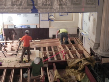 The ramp to the chancel is under construction