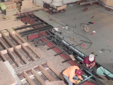 Steel frame is being adjusted