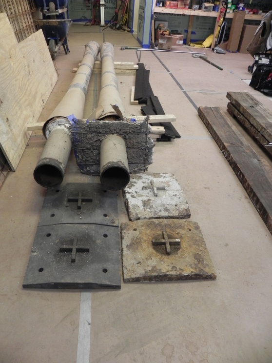 Columns to be reinstalled in the chapel. Note the forms used to hold them in place