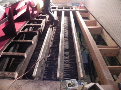 At the rear of the nave the joists have been reinforced to support marble and opening made for new HVAC registers