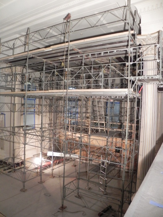 Scaffold in the chancel to install HVAC diffusers and lighting