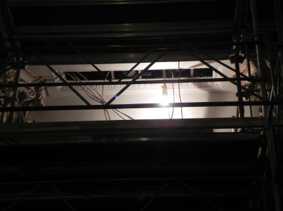 HVAC diffuser and new lighting will be installed in the chancel ceiling between the columns