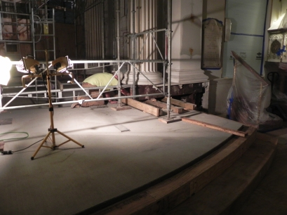 Installing concrete under columns in the chancel