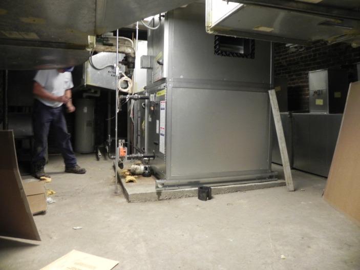 Air handler unit in undercroft