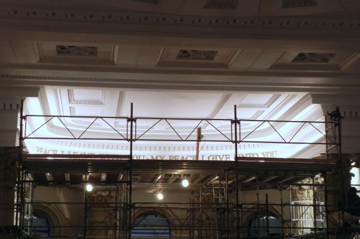 New lighting provides additional illumination on chancel ceiling