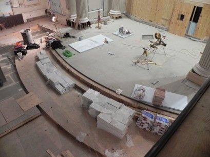 Marble tile is being staged ready to be laid in the chancel