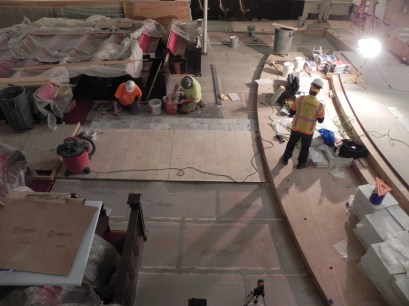 First rows of marble tile are being installed on the nave floor.