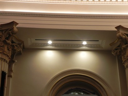 New linear diffusers installed in the chancel replace the old vents and will be much less conspicuous.
