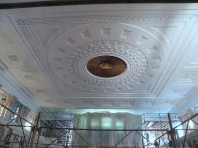 Repainted nave ceiling