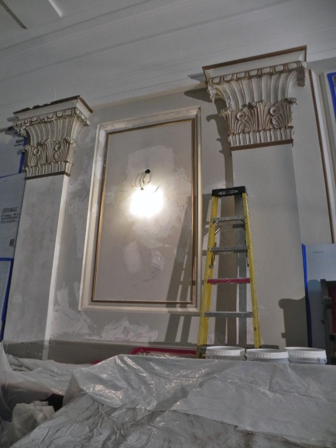 Walls are being patched before painting