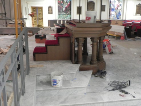 Pulpit has been moved into place (brass is being renewed).