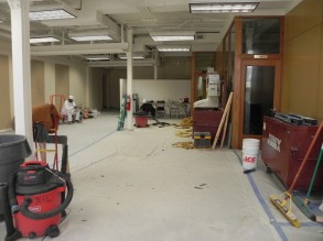 Undercroft contractors space is being returned to original condition.